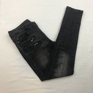Zara black distressed jeans with zippers
